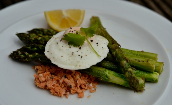 Butter roasted asparagus, poached egg and peppered red salmon.