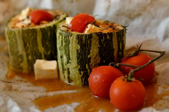 Baked stuffed marrow