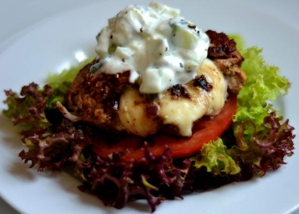 Turkey Burger with Mozzerella inside