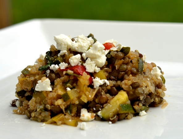 Quinoa, Puy Lentil and Roasted Feta salad