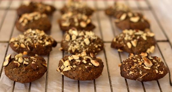 Indulgent carob and Hazelnut cookies  (gluten dairy and sugar free)