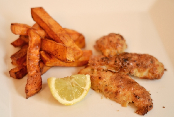 Gluten Free Fish Fingers and Sweet Potato Fries