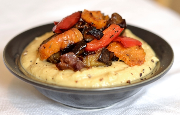 Homemade hummus and thyme roasted vegetables
